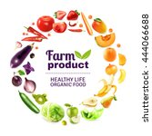organic food typographic poster ... | Shutterstock .eps vector #444066688