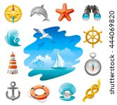 sea travel icon set in blue... | Shutterstock .eps vector #444069820