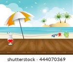 beach and summer theme... | Shutterstock .eps vector #444070369