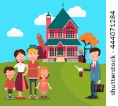 happy family buying a new house.... | Shutterstock .eps vector #444071284
