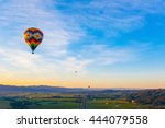 Hot Air Balloon Over Vineyards...