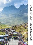Small photo of COL DU GLANDON, FRANCE - JUL 23: Specific vehicles which end each stage during Tour de France, driving on the road to Col du Glandon during the stage 18 of Le Tour de France on July 23, 2015.