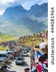 Small photo of COL DU GLANDON, FRANCE - JUL 23: Row of technical cars driving on the road to Col du Glandon during the stage 18 of Le Tour de France on July 23, 2015.
