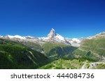 the matterhorn mountain in... | Shutterstock . vector #444084736