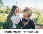 half length of two multiethnic... | Shutterstock . vector #444086038