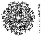 beautiful vector mandala. black ... | Shutterstock .eps vector #444092284