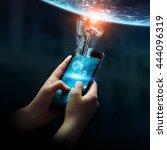 businesswoman using digital... | Shutterstock . vector #444096319