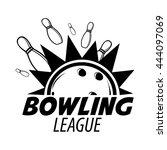 bowling emblems  labels  badges ... | Shutterstock .eps vector #444097069