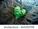 a green leaf with a heart shape ... | Shutterstock . vector #444103798