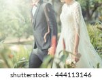 happy bride and groom on their...   Shutterstock . vector #444113146