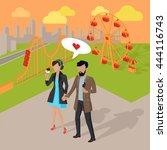 couple in love spending time in ... | Shutterstock .eps vector #444116743