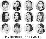 collage of diverse thoughtful... | Shutterstock . vector #444118759