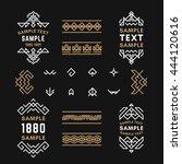 set of line art decorative... | Shutterstock .eps vector #444120616