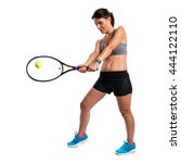 pretty woman playing tennis | Shutterstock . vector #444122110