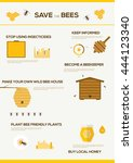 save the bees infographics .... | Shutterstock .eps vector #444123340