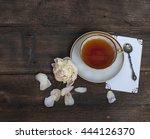 tea and flower on wood... | Shutterstock . vector #444126370