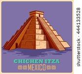 vintage poster of chichen itza...   Shutterstock .eps vector #444133528