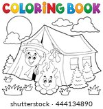 coloring book scout camping in... | Shutterstock .eps vector #444134890