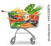 vector supermarket trolley with ... | Shutterstock .eps vector #444135874