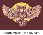 steampunk owl with spread wings ... | Shutterstock .eps vector #444137434