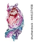 artistic owl with dreamcatcher. ... | Shutterstock .eps vector #444137458