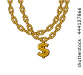 golden chain with dollar symbol.... | Shutterstock .eps vector #444137866