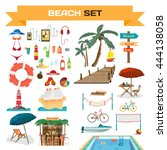 set of summer beach objects