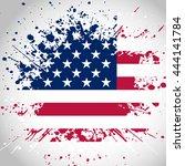 grunge style american flag... | Shutterstock .eps vector #444141784