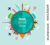 travel composition with famous... | Shutterstock .eps vector #444150649