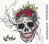 human skull with flower wreath... | Shutterstock .eps vector #444160564