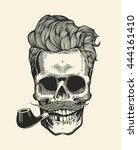 skull. hipster skull silhouette ... | Shutterstock .eps vector #444161410