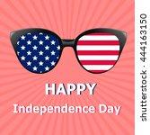 glasses with usa flag  stars... | Shutterstock . vector #444163150