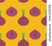 pattern with onion vector... | Shutterstock .eps vector #444165058
