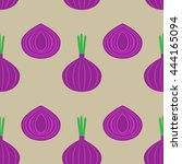 pattern with onion vector... | Shutterstock .eps vector #444165094