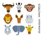 Wild Animals Heads Set In Flat...