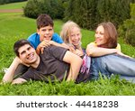 cute young family having fun in ... | Shutterstock . vector #44418238