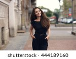 fashion style portrait of young ... | Shutterstock . vector #444189160