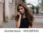 fashion style portrait of young ... | Shutterstock . vector #444189343