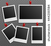 Photo polaroid frames on wall attached with pins. Photo frame and collection of retro photo picture. Vector illustration set