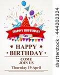 happy birthday greeting card...   Shutterstock . vector #444202324