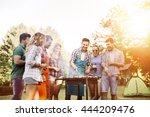 friends camping and having a... | Shutterstock . vector #444209476