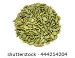 pumpkin seeds on a white... | Shutterstock . vector #444214204