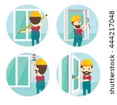 set of installation of window...   Shutterstock .eps vector #444217048