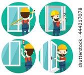 set of installation of window...   Shutterstock .eps vector #444217078