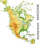 north america physical map | Shutterstock .eps vector #444222448