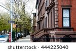 Small photo of Streets of Brooklyn. A row of Brownstone's in Brooklyn. New York. USA