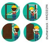 set of installation of doors... | Shutterstock .eps vector #444233194