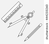 drawing supplies. simple line... | Shutterstock .eps vector #444233260