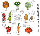 funny vegetable characters set... | Shutterstock .eps vector #444234208