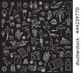 vacation doodles vector... | Shutterstock .eps vector #444239770